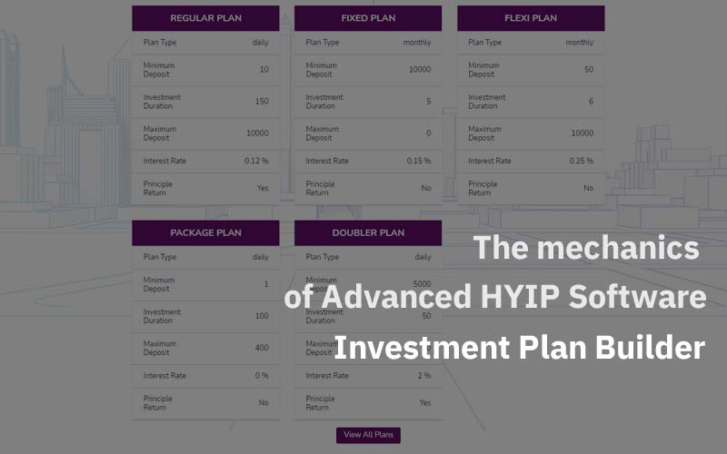 The mechanics of Advanced HYIP Software – Part 1: Investment Plan Builder